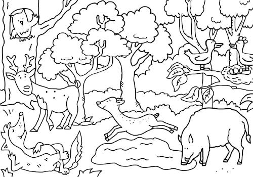 ausmalbild wald von sabine voigt  natur cartoon  toonpool