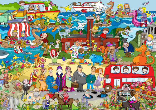 Cartoon: Wimmelbild England (medium) by sabine voigt tagged wimmelbild,london,tower,queen,themse,england,brexit,europa,great,britain,westminster,bus,paddington