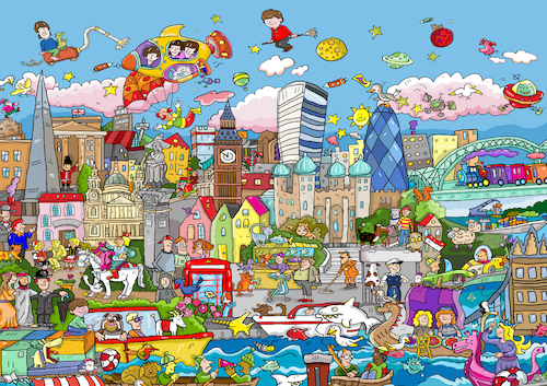 Cartoon: Wimmelbild London (medium) by sabine voigt tagged wimmelbild,london,tower,queen,themse,england,brexit,europa,great,britain,westminster