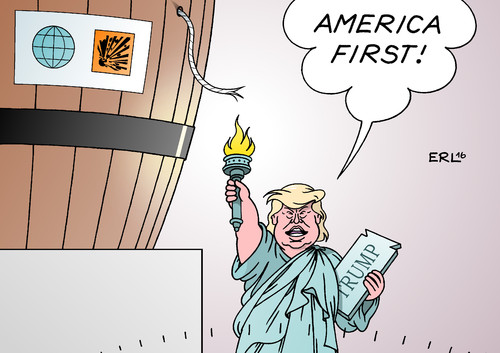 Cartoon: America first (medium) by Erl tagged usa,präsidentschaftswahl,wahl,präsident,republikaner,nominierung,donald,trump,rede,amerika,zuerst,america,first,populismus,rechtspopulismus,nationalismus,weltlage,explosiv,pulverfaß,lunte,feuer,fackel,freiheit,freiheitsstatue,liberty,karikatur,erl,usa,präsidentschaftswahl,wahl,präsident,republikaner,nominierung,donald,trump,rede,amerika,zuerst,america,first,populismus,rechtspopulismus,nationalismus,weltlage,explosiv,pulverfaß,lunte,feuer,fackel,freiheit,freiheitsstatue,liberty,karikatur,erl