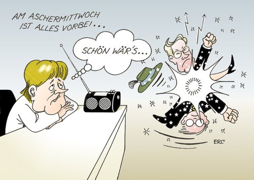 Cartoon: Aschermittwoch (medium) by Erl tagged aschermittwoch,koalition,schwarz,gelb,cdu,csu,fdp,streit,dauerstreit,merkel,westerwelle,aschermittwoch,koalition,schwarz,gelb,cdu,csu,fdp,streit,dauerstreit,guido westerwelle,angela merkel,guido,westerwelle,angela,merkel