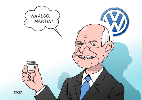 Cartoon: Darauf einen Winterkorn! (medium) by Erl tagged vw,volkswagen,autobauer,auto,diesel,usa,abgaswerte,manipulation,betrug,martin,winterkorn,absatzmarkt,abgastest,prüfung,prüflabor,labor,software,gau,supergau,sturz,rücktritt,genugtuung,piech,karikatur,erl,vw,volkswagen,autobauer,auto,diesel,usa,abgaswerte,manipulation,betrug,martin,winterkorn,absatzmarkt,abgastest,prüfung,prüflabor,labor,software,gau,supergau,sturz,rücktritt,genugtuung,piech,karikatur,erl