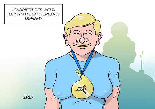 Cartoon: Doping (medium) by Erl tagged doping,sport,leichtathletik,blutproben,positiv,weltleichtathletikverband,ignorieren,ignoranz,sportler,arzt,medaille,chemie,karikatur,erl,doping,sport,leichtathletik,blutproben,positiv,weltleichtathletikverband,ignorieren,ignoranz,sportler,arzt,medaille,chemie