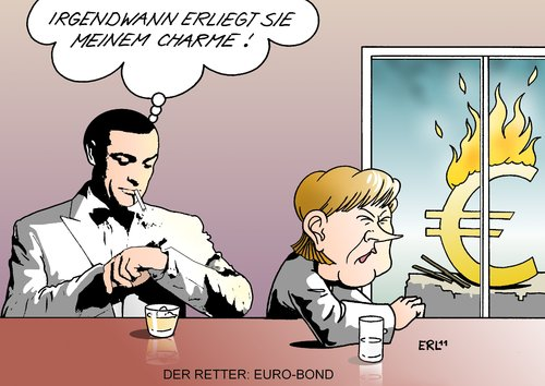 Cartoon: Euro-Bond (medium) by Erl tagged eurobonds,euro,krise,schulden,anleihe,zinsen,eu,gemeinsamkeit,transfer,transferunion,hilfe,arm,reich,james,bond,sean,connery,bundeskanzlerin,angela,merkel,widerstand,charme,feuer,geheimagent,rettung,retter,eurobonds,euro,krise,schulden,anleihe,zinsen,eu,gemeinsamkeit,transfer,transferunion,hilfe,arm,reich,james bond,sean connery,bundeskanzlerin,widerstand,charme,feuer,geheimagent,james,bond,sean,connery