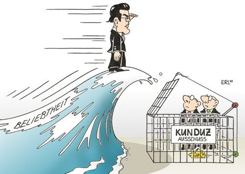 Cartoon: Guttenberg (medium) by Erl tagged guttenberg,kunduz,ausschuss,untersuchung,welle,sympathie,beliebtheit,guttenberg,kunduz,ausschuss,untersuchung,welle,sympathie,beliebtheit