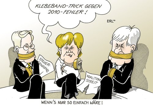 Cartoon: Klebeband-Trick (medium) by Erl tagged schwarz,gelb,koalition,streit,steuersenkung,klebeband,trick,kreditkarten,problem,2010,westerwelle,merkel,seehofer,schwarz,gelb,koalition,streit,steuersenkung,klebeband,kreditkarten,problem,2010,guido westerwelle,angela merkel,horst seehofer,guido,westerwelle,angela,merkel,horst,seehofer