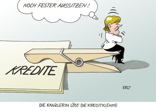 Cartoon: Kreditklemme (medium) by Erl tagged kredit,kredite,kreditklemme,bank,banken,merkel,aussitzen,kredit,kredite,kreditklemme,bank,banken,aussitzen,angela merkel,kanzlerin,angela,merkel
