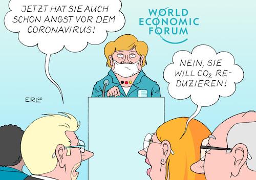 Merkel in Davos von Erl | Politik Cartoon | TOONPOOL