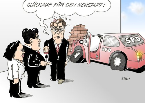 Cartoon: Neustart (medium) by Erl tagged spd,müntefering,gabriel,nahles,neuanfang,wahlniederlage,debakel,spd,franz müntefering,sigmar gabriel,neuanfang,wahlniederlage,debakel,franz,müntefering,sigmar,gabriel