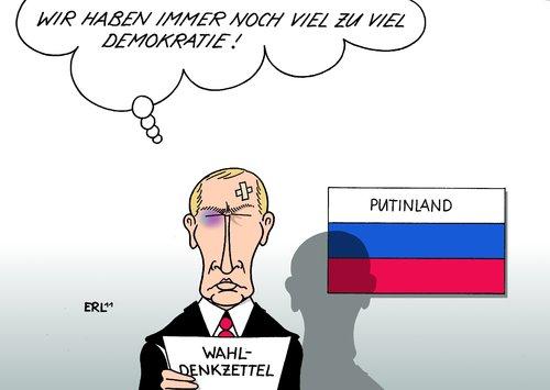Cartoon: Putin (medium) by Erl tagged russland,wahl,duma,regierungspartei,partei,putin,medwedew,demokratie,mangel,abbau,diktatur,wahlfälschung,unterdrückung,opposition,meinungsfreiheit,pressefreiheit,russland,wahl,duma,regierungspartei,partei,putin,medwedew,demokratie,mangel,abbau,diktatur,wahlfälschung