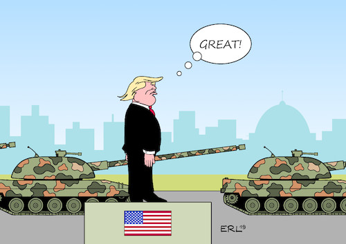 Cartoon: Trump Militärparade (medium) by Erl tagged politik,usa,nationalfeiertag,präsident,donald,trump,militärparade,stärke,größe,macho,rechtspopulismus,nationalismus,rassismus,panzer,rohr,washington,karikatur,erl,politik,usa,nationalfeiertag,präsident,donald,trump,militärparade,stärke,größe,macho,rechtspopulismus,nationalismus,rassismus,panzer,rohr,washington,karikatur,erl