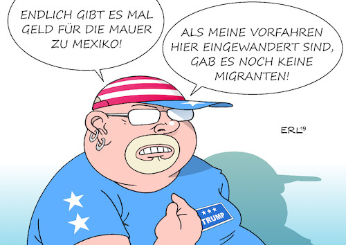 Cartoon: USA Mauer Migration (medium) by Erl tagged politik,usa,präsident,donald,trump,rechtspopulismus,nationalismus,rassismus,abschottung,mauer,mexiko,geld,migration,migranten,mittelamerika,südamerika,amerika,einwanderung,einwanderungsland,vorfahren,karikatur,erl,politik,usa,präsident,donald,trump,rechtspopulismus,nationalismus,rassismus,abschottung,mauer,mexiko,geld,migration,migranten,mittelamerika,südamerika,amerika,einwanderung,einwanderungsland,vorfahren,karikatur,erl