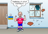 Cartoon: Putin (small) by Erl tagged ukraine,zerfall,russland,annexion,krim,ostukraine,unruhen,putin,unschuld,haus,fußball,fenster,fensterscheibe,kaputt,schuss,fc,fußballclub