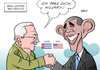 Cartoon: USA Kuba Clinton (small) by Erl tagged usa,kuba,revolution,feindschaft,handelsembargo,tauwetter,raul,castro,barack,obama,präsident,treffen,handschlag,bekanntgabe,kandidatur,hillary,clinton,us,präsidentin,weisicht,zukunft,karikatur,erl
