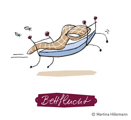 Cartoon: Bettflucht (medium) by Martina Hillemann tagged wäsche,bett,wort,sprache,rennen,flucht,bettwäsche,laken,bettdecke,kopfkissen,matratze