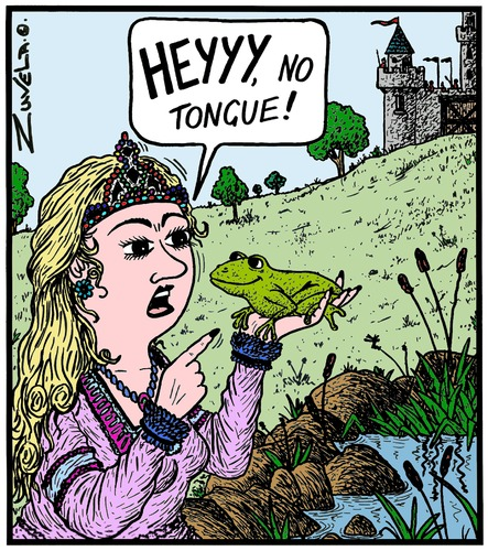Cartoon: Kiss kiss kiss Ribit! (medium) by Tony Zuvela tagged frog,princess,fairytale,fairy,tale,castle,medieval,spell,prince,tongue,french,kiss,frog,princess,fairytale,fairy,tale,castle,medieval,spell,prince,tongue,french,kiss