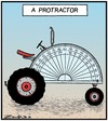 Cartoon: A Farm Machine to a Degree (small) by Tony Zuvela tagged protractor,tractor,fram,machine,vehicle,transport,ploughing,instrument,measure,angles,semicircle,degrees,numbers,maths
