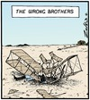 Cartoon: Crashed and burned (small) by Tony Zuvela tagged the,wright,brothers,wrong,crash,burned,airplane,glider,powered,flight,first,motors,engines,orville,wilbur,american,aviation,pioneer,kitty,hawk,aeroplane,biplane