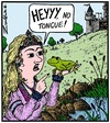 Cartoon: Kiss kiss kiss Ribit! (small) by Tony Zuvela tagged frog,princess,fairytale,fairy,tale,castle,medieval,spell,prince,tongue,french,kiss