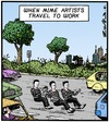 Cartoon: Mimes on the way to Work (small) by Tony Zuvela tagged mime,artists,traveling,to,work,artist,cars,vehicles,road,highway,driving,art,form,craft,travel,office,show