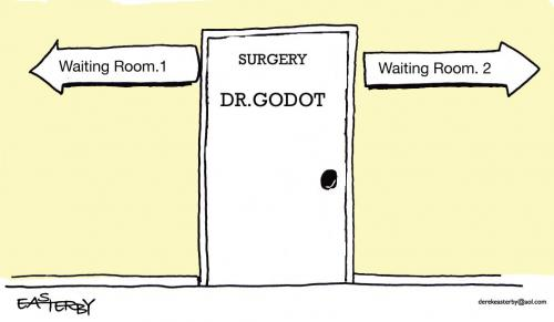Cartoon: Dr Godot waiting rooms (medium) by EASTERBY tagged doctors,health,waiting,rooms