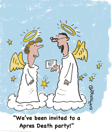 Cartoon: Heavenly invitation (medium) by EASTERBY tagged angels,heaven