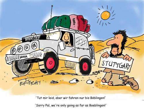 Cartoon: Hikehitcher (medium) by EASTERBY tagged hitchhiker,holidays,desert