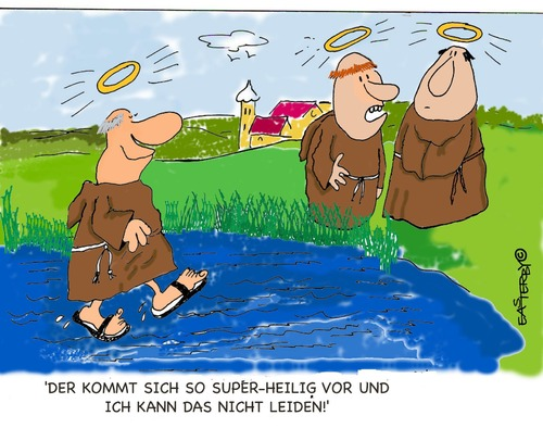 Cartoon: HOLY ORDERS 12 (medium) by EASTERBY tagged believing,faith,halos,monks