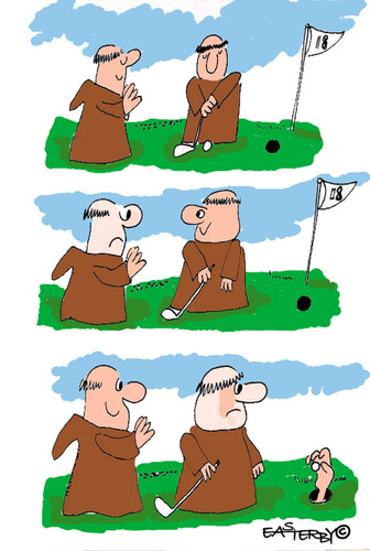 Cartoon: HOLY ORDERS 5 (medium) by EASTERBY tagged monks,halos,praying,golf