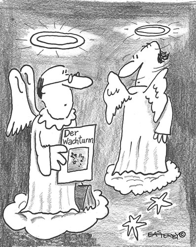 Cartoon: Jehovas Engel (medium) by EASTERBY tagged witnesses,jehovas,heaven,angels