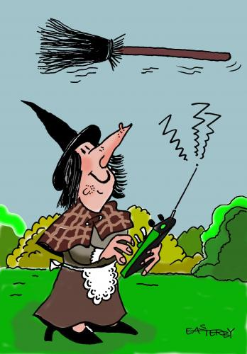 Cartoon: Remote witchcraft (medium) by EASTERBY tagged witches,technic,