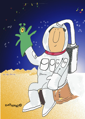 Cartoon: Spaceman with glovepuppet (medium) by EASTERBY tagged spaceman,glovepuppet,toys