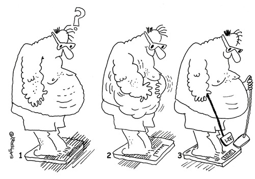 Cartoon: Wobbly Weight and see (medium) by EASTERBY tagged overweight,fat