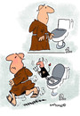 Cartoon: Devilish (small) by EASTERBY tagged monks,devils,toilets