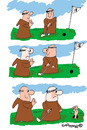 Cartoon: HOLY ORDERS 5 (small) by EASTERBY tagged monks halos praying golf