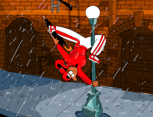 Cartoon: Breakdancing in the rain (medium) by Munguia tagged singing,in,the,rain,dance,break,parody,famous,classic,movie,broadway