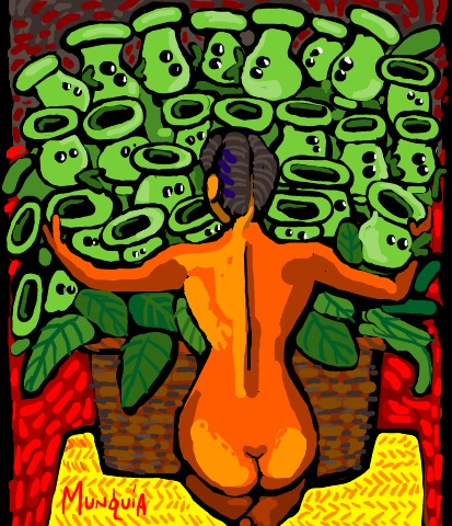 Cartoon: Peashooters (medium) by Munguia tagged diego,rivera,nude,with,calla,lilies,calas,desnudo,naked,girl,woman,plants,vs,zombies,famous,paintings,parodies