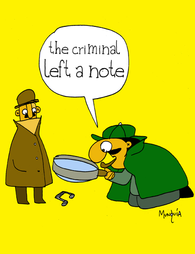 Cartoon: The Criminal left a note (medium) by Munguia tagged sherlock,holmes,detective,lupa,note,music,musical