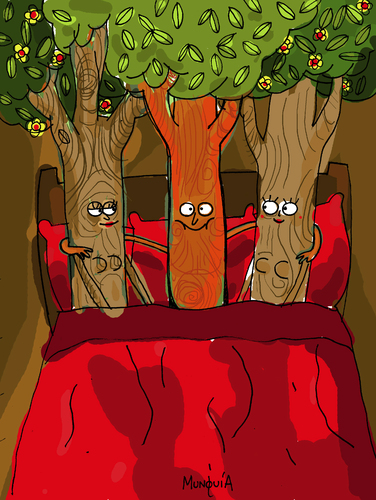 Cartoon: Treesome (medium) by Munguia tagged threesome,trio,triplet,tree
