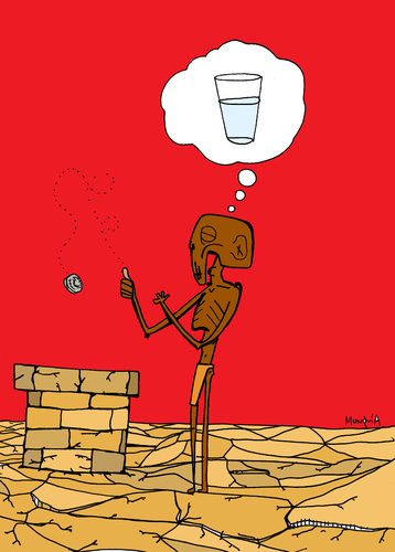 Cartoon: Wishing Well (medium) by Munguia tagged thirst,water,well,wish,wishing,better,pozo,agua,hunger,africa,desert,drought,munguia,costa,rica,humor,grafico,caricatura