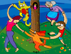 Cartoon: around the tree (small) by Munguia tagged dance,matisse,danza,cat,dog,women,old,lady,kid,dancing,around,the,tree