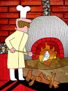 Cartoon: Calzone (small) by Munguia tagged calzone,pizzapitch,pizza,italian,food,oven,kiln,wood,chef,underwear