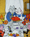 Cartoon: Dinner (small) by Munguia tagged norman,rockwell,freedom,of,want,thanks,giving,famous,paintings,parodies,cats,kitty,gato