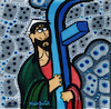 Cartoon: FB Jesus (small) by Munguia tagged el,greco,cristo,con,la,cruz,christ,carrying,the,cross,famous,paintings,parodies,parody,spoof,cartoon