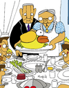 Cartoon: Flappy Thanksgivings (small) by Munguia tagged flappy bird thanksgivings freedom from want norman rockwell painting parody