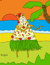 Cartoon: Hawaian pizza (small) by Munguia tagged pizzapitch pizza woman sea beach isle food hawai pineapple ham flowers sand dance