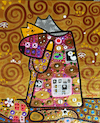 Cartoon: Hugs (small) by Munguia tagged famous paintings parodies gustav klimt parody verion cats gatos kitten kitty