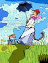 Cartoon: Monet (small) by Munguia tagged monkey,monet,mother,son,madre,hijo,umbrella,impresionismo