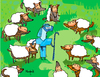 Cartoon: Pastor de lobos vestidos d oveja (small) by Munguia tagged facebook,wolf,sheep,chothes,wear,sheeper,internet,munguia,calcamunguias,costa,rica