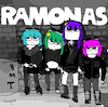 Cartoon: Ramonas (small) by Munguia tagged ramones,album,cover,parodies,parody,famous,scott,pilgrim,comic,funny,version,spoof,music,cd